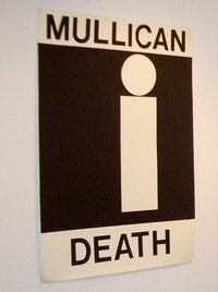 "Matt Mullican, ""/Mullican Life/Mullican Death/"" (1983/1984). Sign paint on paper. Two works; each 59 x 42 inches. Courtesy of Tracy Williams, Ltd"