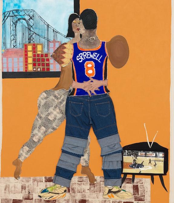 Tschabalala Self, <em>Sprewell</em>, 2020. Fabric, painted canvas, silk, jeans, painted newsprint, paper, stamp, thread, photo transfer and acrylic on canvas, 84 x 72 x 1 1/2 inches. © Tschabalala Self. Courtesy the artist and Galerie Eva Presenhuber, Zurich / New York. Photo: Matt Grubb.