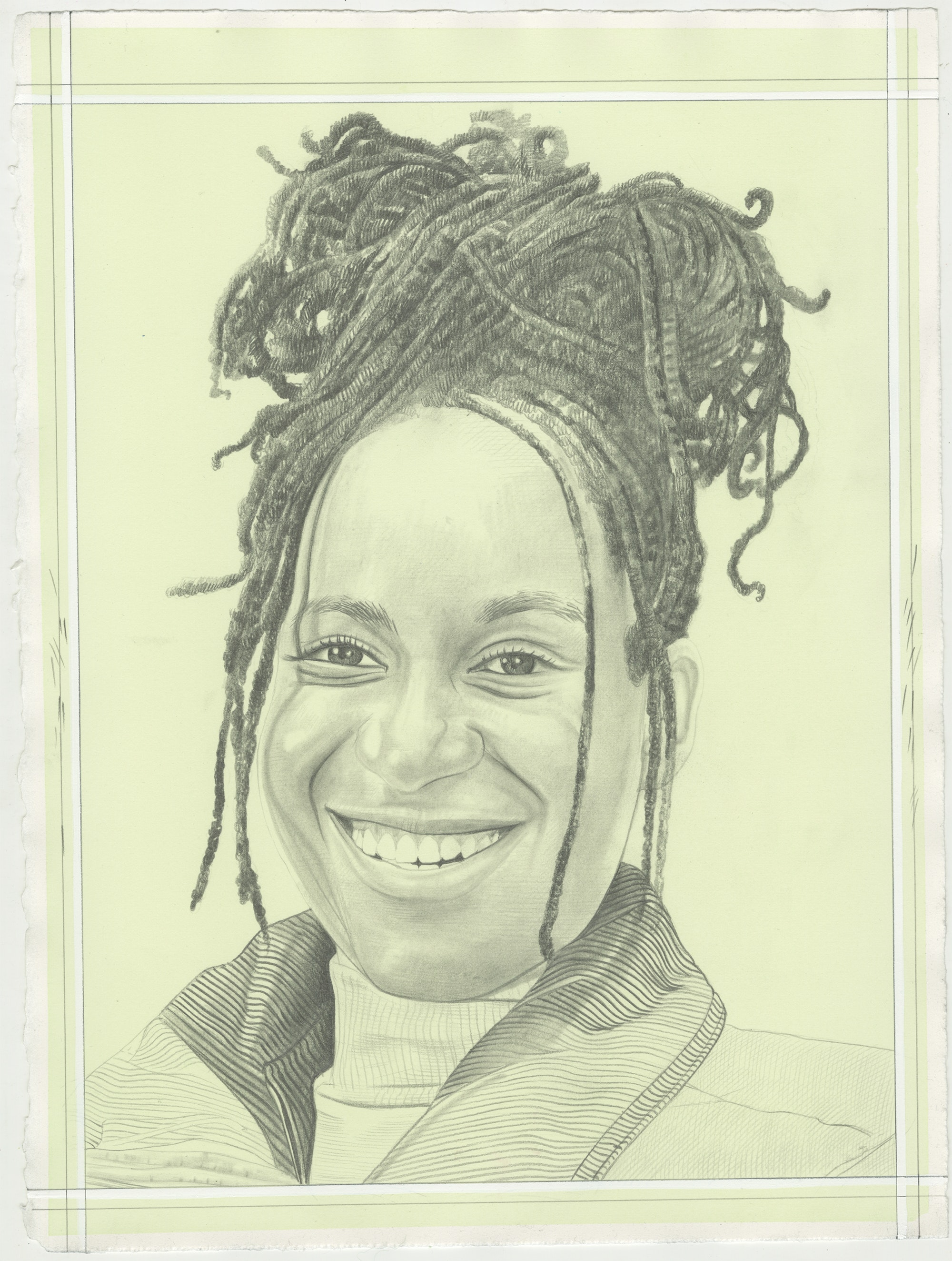 Portrait of Tschabalala Self, pencil on paper by Phong H. Bui.