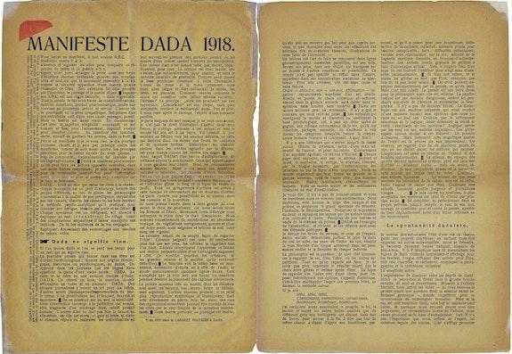 "Tristan Tzara's ""Dada Manifesto,"" in <em>Dada 3</em> (December 1918)."