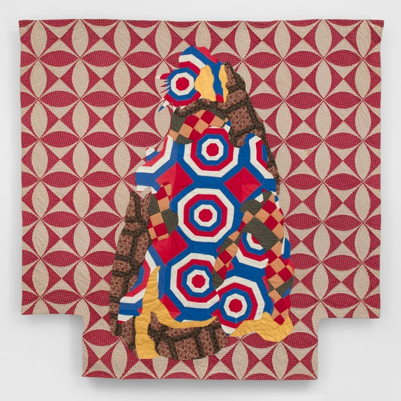 Sanford Biggers, <em>Orpheus</em>, 2020. Antique quilt, assorted textiles, wood 82 x 83 1/2 in. Courtesy the artist and Marianne Boesky Gallery, New York.