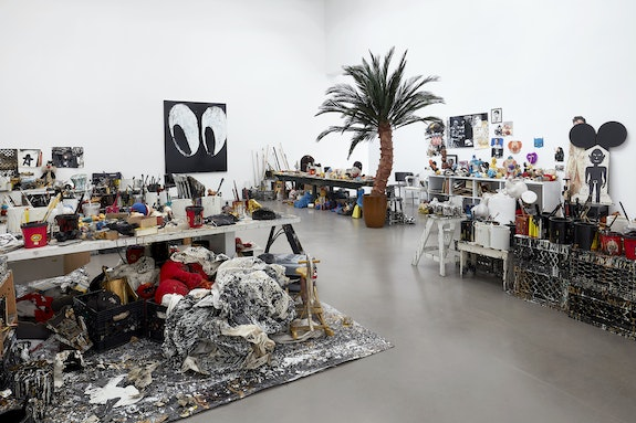 Joyce Pensato, <em>Untitled</em> (at various times, <em>Joyceland, Fuggettabout It!</em>), 2012–2019. Studio installation materials, dimensions variable. Courtesy The Joyce Pensato Estate and Petzel, New York.