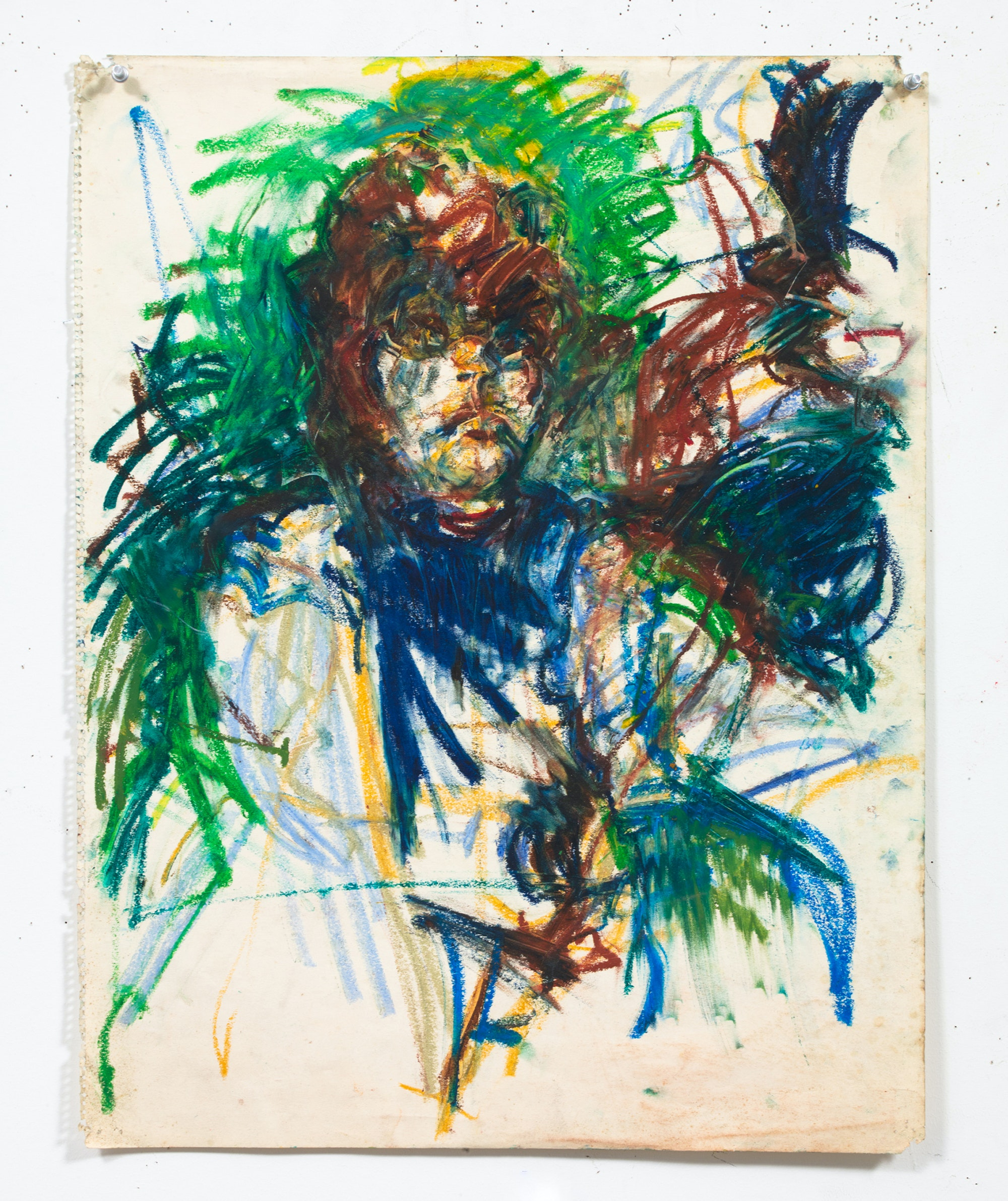 Joyce Pensato, <em>Untitled</em>, ca. 1980. Oil and pastel on paper, 24 3/4 x 19 1/4 inches. Courtesy The Joyce Pensato Estate and Petzel, New York.