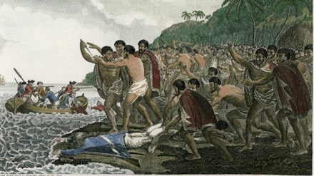 D. P. Dodd, <em>The Death of Captain James Cook, F. R. S. at Owhyhee in MDCCLXXIX</em>, 1784. Colourized version of Captain Cook's Voyage, Octavo Edition. Wikicommons.