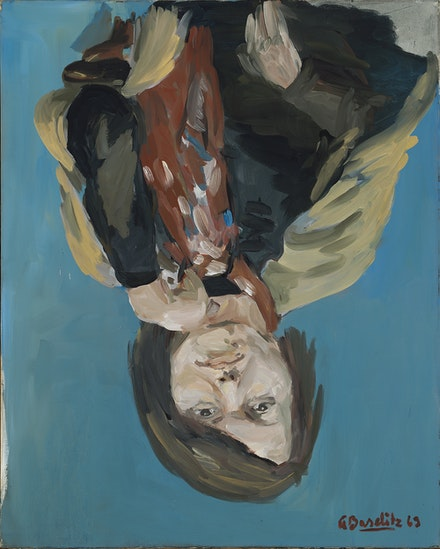 Georg Baselitz, <em>Portrait of Elke I</em>, 1969. Courtesy the Metropolitan Museum of Art, gift of the Baselitz Family, 2020. © Georg Baselitz 2021. Photo: Jochen Littkemann.