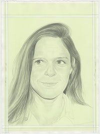 Portrait of Hilary Harnischfeger, pencil on paper by Phong H. Bui.