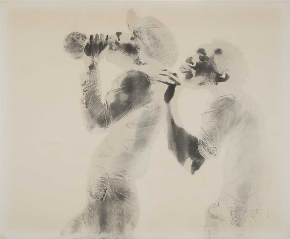 David Hammons, <em>The Wine Leading the Wine</em>, ca. 1969. Grease and pigment on paper, 40 x 48 inches. Courtesy the Drawing Center.