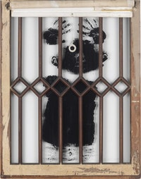 David Hammons, <em>Black Boy's Window</em>, 1968. Silkscreen on glass, 35 3/4 x 27 3/4 inches. Courtesy the Drawing Center.