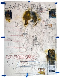 Paul McCarthy, <em>A&E, EVADOOLF EVA, Santa Anita session</em>, 2020. Charcoal, pastel, mixed media, and collage on paper, 104 1/4 x 78 1/2 inches. © Paul McCarthy. Courtesy the artist and Hauser & Wirth. Photo: Fredrik Nilsen.