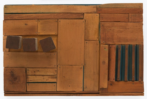 Mildred Thompson, <em>Wood Picture</em>, ca. 1967. Wood, paint, nails, 16 1/4  x 24 3/4 x 4 1/4 inches. © Estate of Mildred Thompson. Courtesy Galerie Lelong & Co., New York.