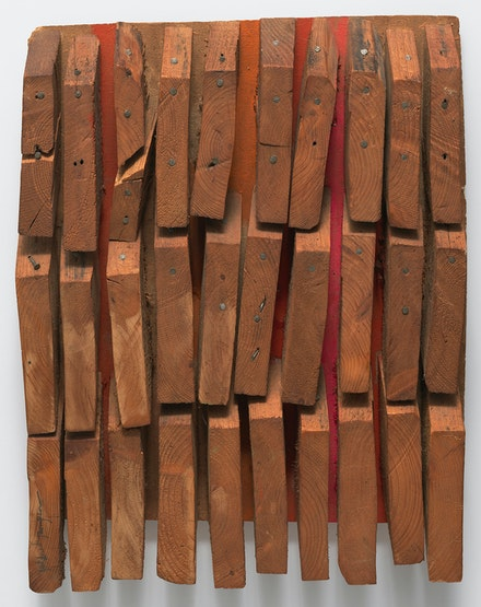 Mildred Thompson, <em>Wood Picture</em>, ca. 1967. Found wood and nails, 20 1/2 x 15 3/4 x 2 3/4 inches. © Estate of Mildred Thompson. Courtesy Galerie Lelong & Co., New York.