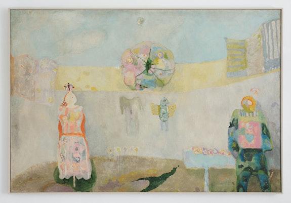 Ljiljana Blazevska, <em>Začarani prostor</em>, 1979. Oil on canvas stretched on cradled panel, 47 1/4 x 70 inches. Courtesy 15 Orient, New York.