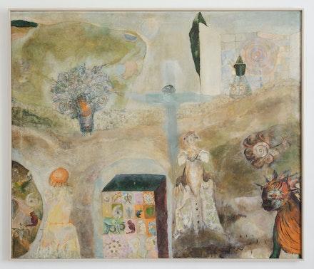Ljiljana Blazevska, <em>Tajni zakoni što vladaju snom</em>, date unknown, revisited in 2019. Oil on canvas, 60 1/2 x 71 1/4 inches. Courtesy 15 Orient, New York.