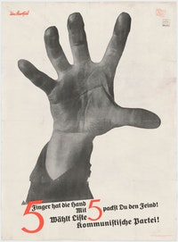 John Heartfield (born Helmut Herzfelde), <em>The Hand Has Five Fingers (5 Finger hat die Hand)</em> (Campaign poster for German Communist Party), 1928. Lithograph, printed by Peuvag-Druckerei, Berlin. 38 1/2 x 29 1/4 inches. The Museum of Modern Art, New York.