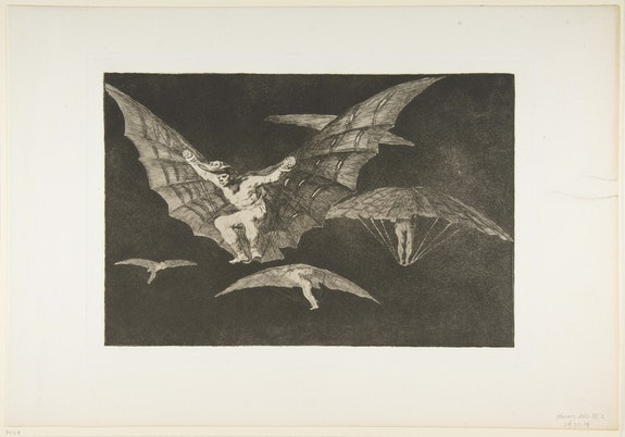 Francisco de Goya y Lucientes, <em>A Way of Flying, from Disparates</em>, ca. 1816–23 (published 1864). Etching, aquatint and drypoint, 13 3/16 × 19 1/16 inches. Courtesy The Metropolitan Museum of Art, New York.