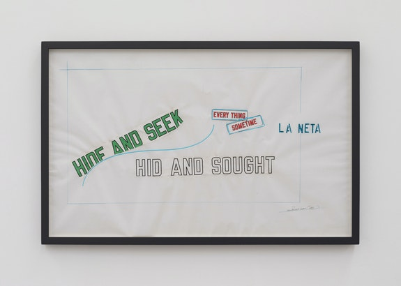 Lawrence Weiner, <em>Untitled</em>, 2019. Mixed media on archival paper, 21 1/3 x 33 1/5 inches framed. Courtesy the artist and Kerlin Gallery, Dublin.