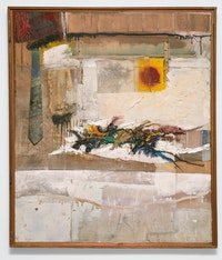 Robert Rauschenberg, <em>Rhyme</em>, 1956. Oil, fabric, necktie, paper, enamel, pencil, and synthetic polymer paint on canvas, 48 1/4 x 41 1/8 inches. Courtesy Craig Starr and The Museum of Modern Art.