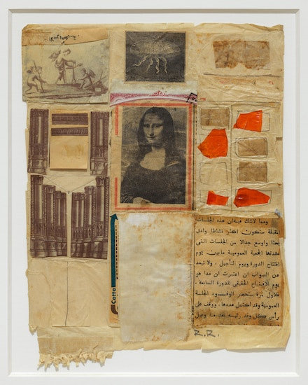 Robert Rauschenberg, <em>Untitled [Mona Lisa]</em>, ca. 1952. Collage, engravings, printed paper, fabric, paper, pencil, foil paper, and glue on paper, 9 1/2 x 7 1/2 inches. Courtesy Craig Starr.