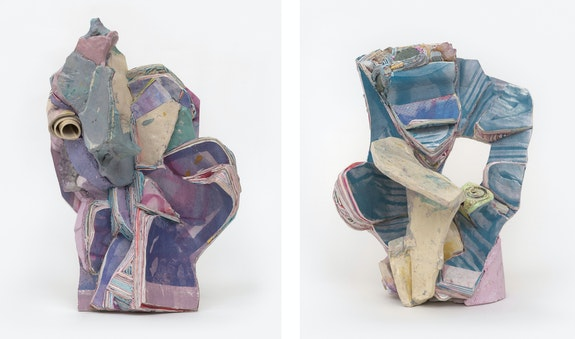 Left: Hilary Harnischfeger, <em>Obi-3</em>, 2021. Amethyst, ceramic, paper, hydrostone, pigment, steel, 20 x 12 x 12 inches. Right:<em> Mmiri</em>, 2021. Ceramic, paper, hydrostone, pigment, wood, pyrite, smokey quartz, and cactus quartz, 16 x 14 x 12 inches. Courtesy the artist and Rachel Uffner, New York.
