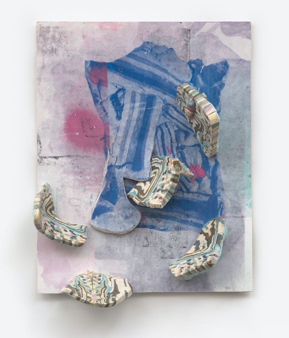 Hilary Harnischfeger, <em>Ghost-rock</em>, 2021. Paper, ink, dye, ceramic, hydrostone, and wood, 22 x 17 x 6 inches. Courtesy the artist and Rachel Uffner, New York.