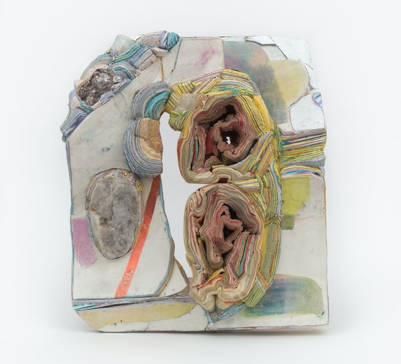 Hilary Harnischfeger, <em>Large Erratics</em>, 2021. Paper, ink, dye, ceramic, stones, selenite, lapidolite, hydrostone, Zeolite, wood, and steel, 20 x 15 x 13 inches. Courtesy the artist and Rachel Uffner, New York.