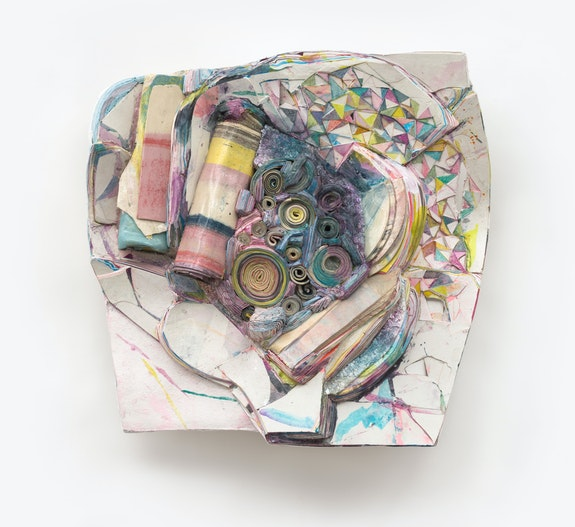 Hilary Harnischfeger, <em>Brazos</em>, 2021. Ceramic, paper, hydrostone, pigment, and mica, 19 x 19 x 9 inches. Courtesy the artist and Rachel Uffner, New York.