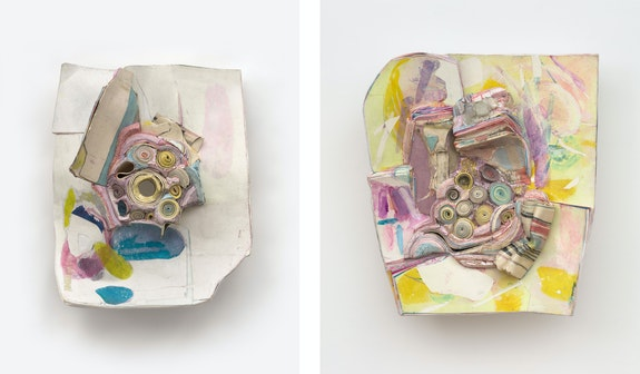 Left: Hilary Harnischfeger, <em>Sister</em>, 2021. Ceramic, paper, hydrostone, pigment, 19 x 16 x 8 inches. Right: <em>Face like a picture</em>, 2020. Apophyllite, paper, ink, dye, ceramic, and hydrostone, 20 x 18 x 5 inches. Courtesy the artist and Rachel Uffner, New York.