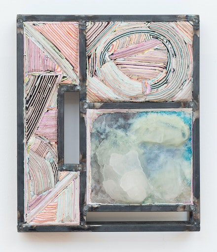 Hilary Harnischfeger, <em>Brooch 3</em>, 2017. Steel, ceramic, cast glass and paper, 11 1/2 x 9 1/2 x 2 1/2 inches. Courtesy the artist and Rachel Uffner, New York.
