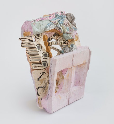 Hilary Harnischfeger, <em>Chandigarh</em>, 2015. Ceramic, paper, hydrostone, pigment, paper, oil stick, herkimer diamond, wood, 23 x 18 x 10 inches. Courtesy the artist and Rachel Uffner, New York.
