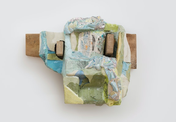 Hilary Harnischfeger, <em>Bovina</em>, 2015. Ceramic, hydrostone, pigment, crushed glass, oil stick, paper, wood, 20 x 22 x 10 inches. Courtesy the artist and Rachel Uffner, New York.