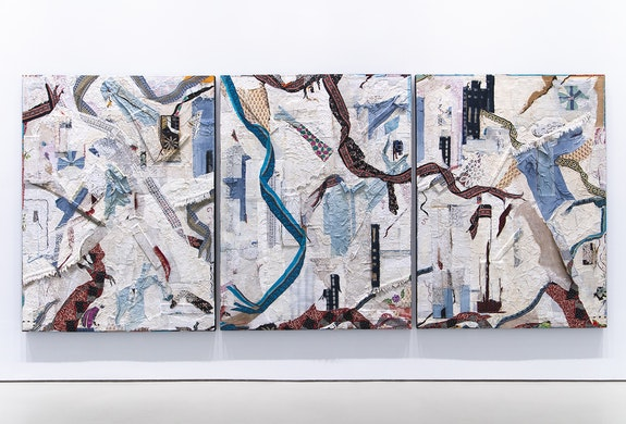 Peter Sacks, <em>Republic</em>, 2019-2020. Mixed media on canvas, 96 x 220 inches. Courtesy Sperone Westwater, New York.