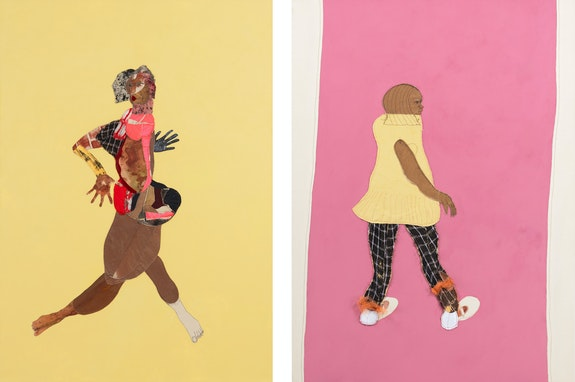 Left: Tschabalala Self, <em>Fast Girl</em>, 2020. Fabric, thread, charmeuse, silk, velvet, paper, pigment, acrylic, and painted canvas, 84 x 60 x 1 1/2 inches. Right: <em>Lil Mama 2</em>, 2020. Fabric, craft paper, tulle, dyed canvas, acrylic on canvas, 68 x 50 x 1 1/2 inches. © Tschabalala Self. Courtesy the artist and Galerie Eva Presenhuber, Zurich / New York.