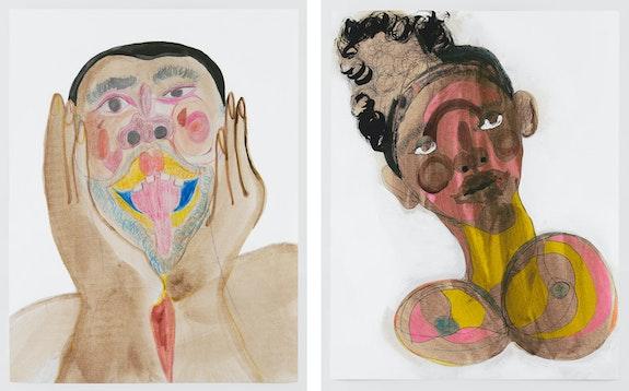 Left: Tschabalala Self, <em>Black Face with Animated Face</em>, 2020. Right: <em>Black Face with Sweet Pink</em>, 2020. Colored pencil, acrylic paint, gouache, charcoal, graphite on archival inkjet print, 36 x 28 inches each. © Tschabalala Self. Courtesy the artist and Galerie Eva Presenhuber, Zurich / New York. Photo: Matt Grubb.