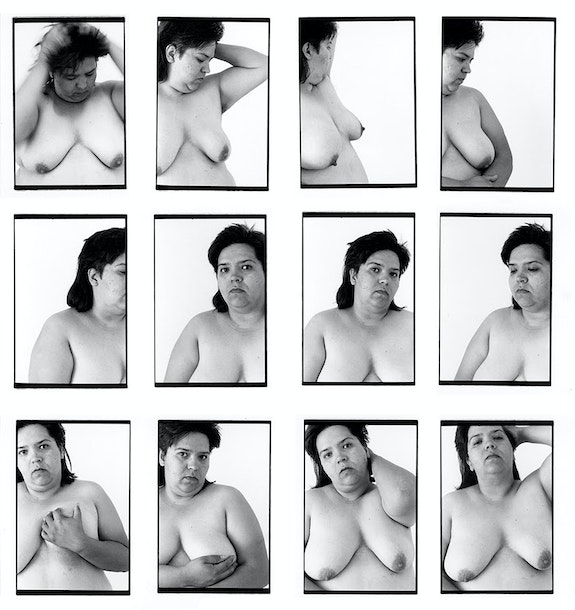 Laura Aguilar, <em>12 Lauras</em>, 1993. 12 gelatin silver prints, 24 x 17 inches each. © Laura Aguilar / Courtesy the Laura Aguilar Trust of 2016 and the UCLA Chicano Studies Research Center.