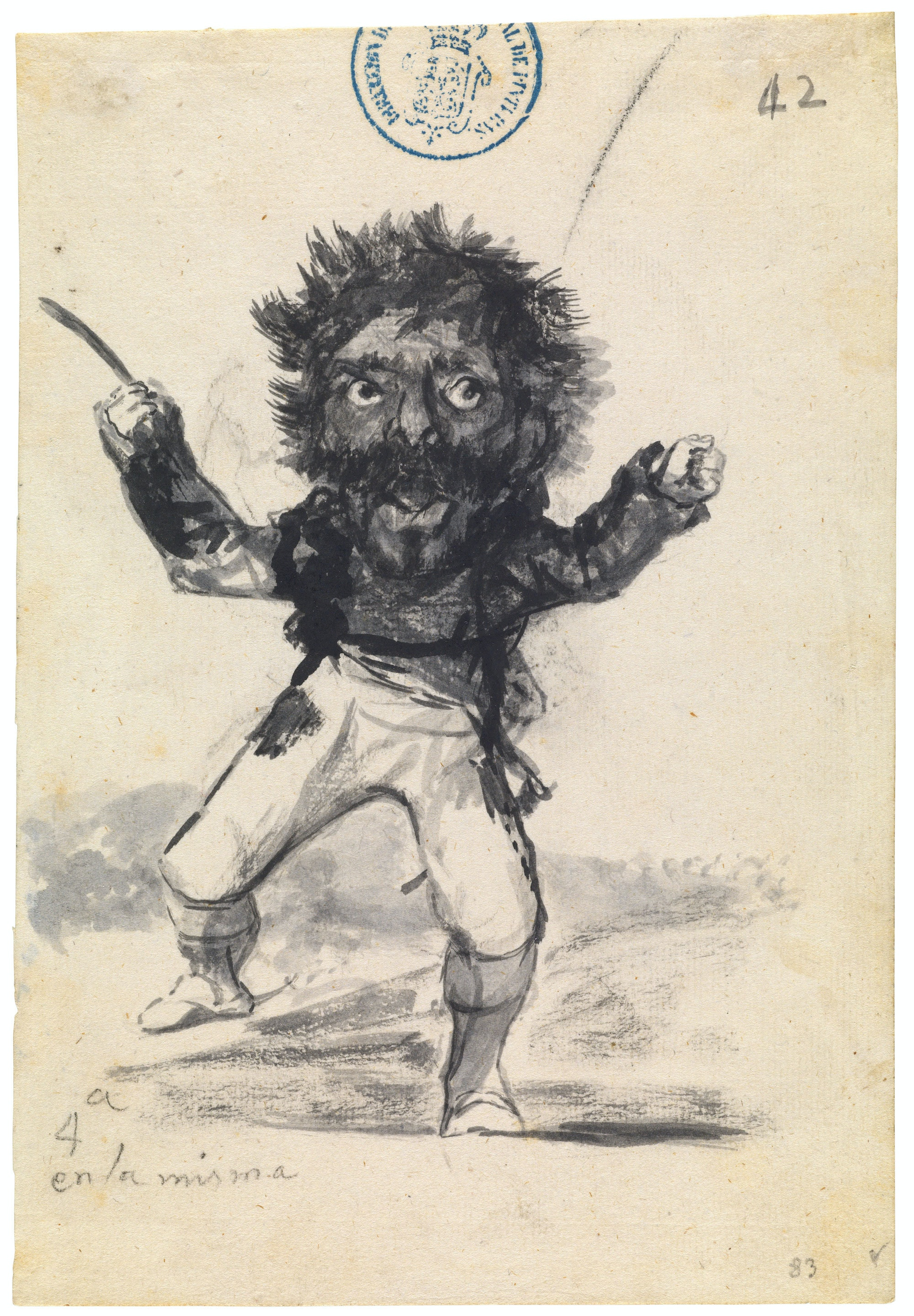Francisco de Goya y Lucientes, <em>4th vision in the same night</em>, ca. 1808–14. Brush, wash, carbon black ink, traces of black chalk, on laid paper, 8 1/16 × 5 9/16 inches. Courtesy The Metropolitan Museum of Art, New York and Museo Nacional del Prado, Madrid.