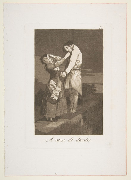 Francisco de Goya y Lucientes, <em>Out hunting for teeth</em> (plate 12 from <em>Los Caprichos</em>), 1799. Etching, burnished aquatint, and burin, 11 9/16 × 8 1/4 inches. Courtesy The Metropolitan Museum of Art, New York.