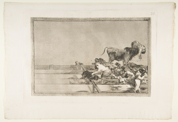 Francisco de Goya y Lucientes, <em>Dreadful events in the front rows of the ring at Madrid and death of the mayor of Torrejón</em> (plate 21 from <em>Tauromaquia</em>), 1816. Etching, burnished aquatint, lavis, drypoint, and burin, 12 1/8 × 17 1/4 inches. Courtesy The Metropolitan Museum of Art, New York.