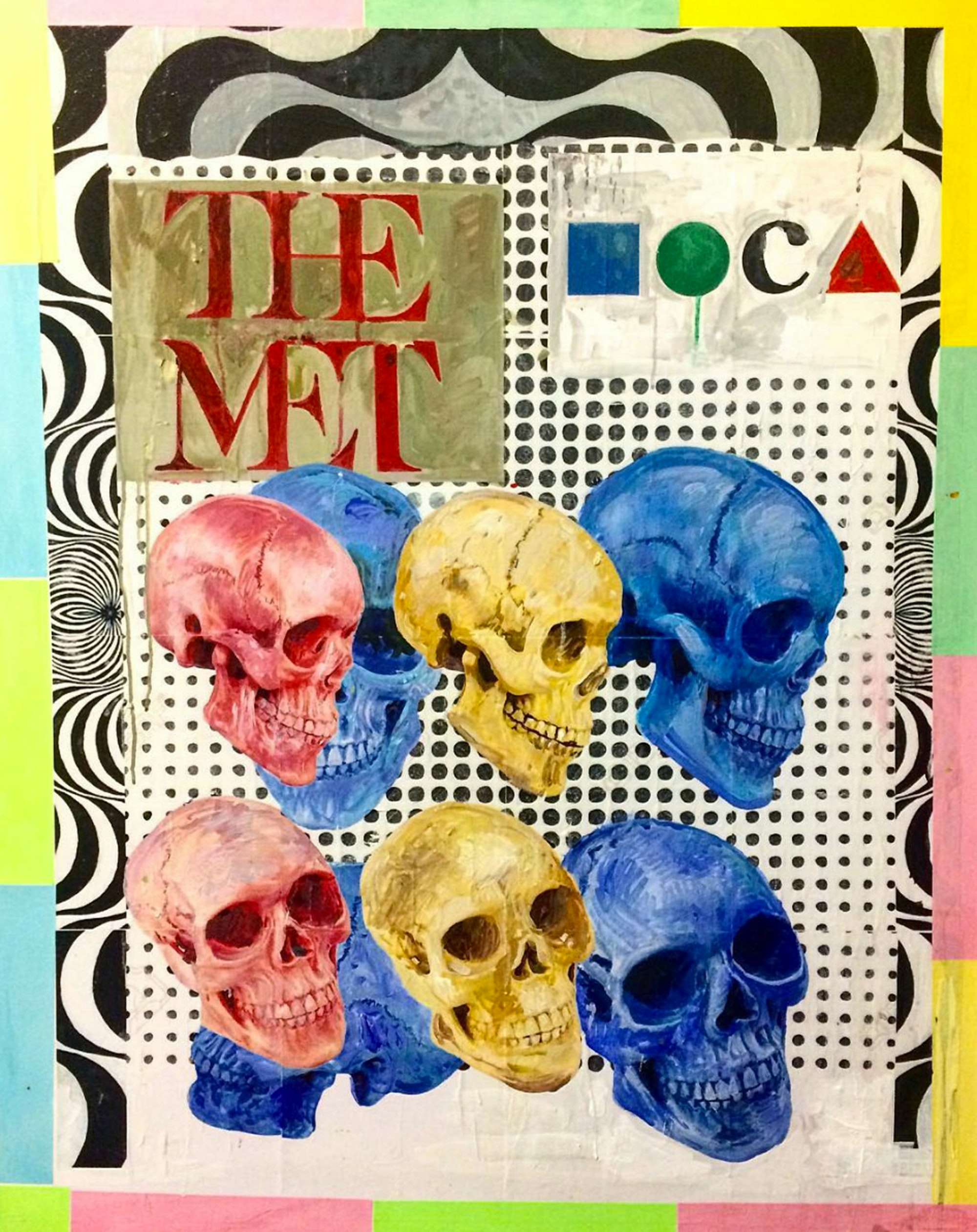 Noah Becker, <em>Museum Skulls</em>, 2018. Acrylic and mixed media on canvas, 40 x 30 inches. Courtesy the artist.