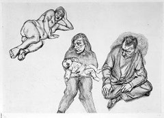"Lucian Freud (born 1922), German/British. ""Four Figures"", 1991. Etching on Somerset Satin White paper. 23 x 33 in. ed. 23 of 30."
