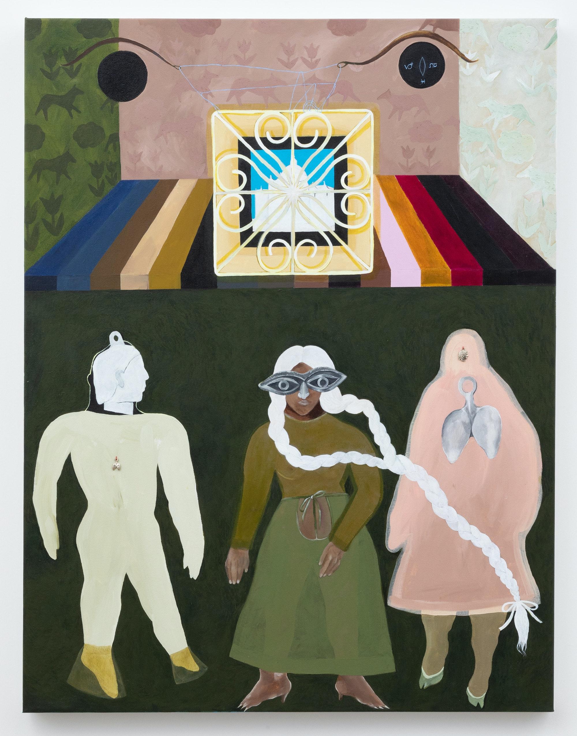Astrid Terrazas, <em>Retrato familiar</em>, 2020. Acrylic on canvas.43 x 33 inches. Courtesy Hesse Flatow.