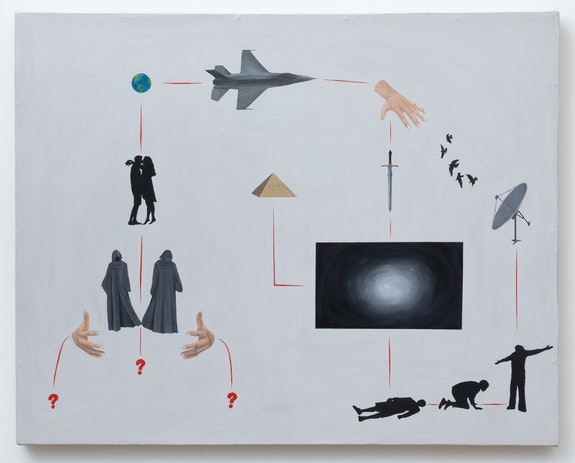Exene Karros, <em>what happens when You die</em>, 2020. Acrylic on canvas, 23.5 x 29.75 inches. Courtesy Hesse Flatow.