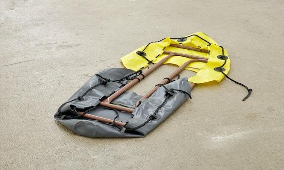 Bat-Ami Rivlin, <em>Untitled (grab lines, grab handles)</em>, 2021. Inflatable kayak grab handles, metal frame, 3 x 23 x 49 inches. Courtesy M 2 3, New York.