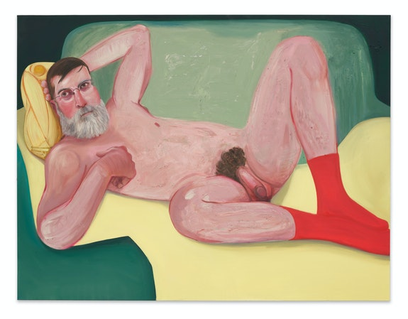Nicole Eisenman, <em>Keith</em>, 2020. Oil on canvas, 43 x 46 inches. Collection of Eleanor Heyman Propp.