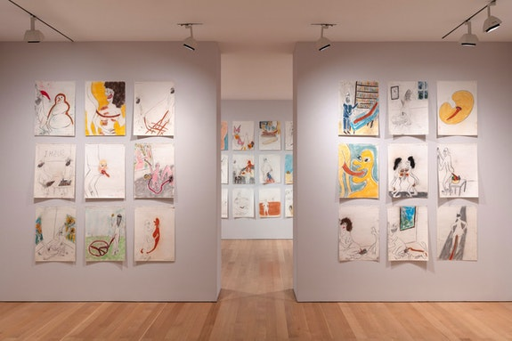 Installation view: <em>Nicole Eisenman and Keith Boadwee</em>, The FLAG Art Foundation, New York. 2020. Courtesy FLAG Art Foundation. Photo: Steven Probert.
