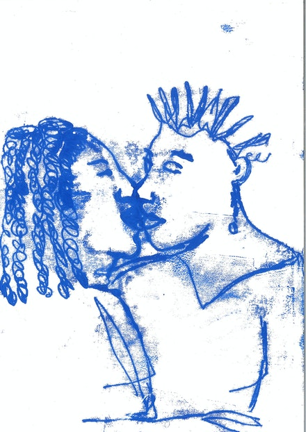 Sola Olulode, <em>A Series Of Events 3</em>, 2020. Monoprint on paper, 8 1/2 x 11 3/4 inches. Courtesy Sapar Contemporary.