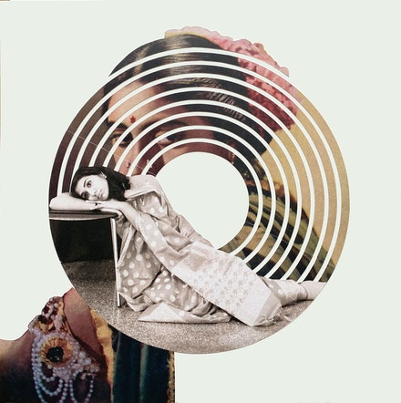 Maya Varadaraj, <em>Between Observer and Observed</em>, 2021. Collage on archival paper, 18 x 18 inches. Courtesy Sapar Contemporary.