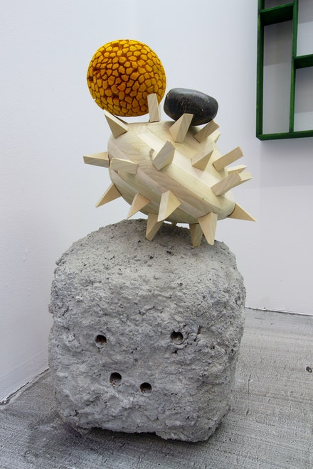 Dmitri Hertz, <em>Pollen, flower, pollen, dice, particle, rock (μm agglomerate 5)</em>, 2019–21. Cement, perlite, charcoal, steel, frame poplar, pine, dye, particle brick, stain, 16 x 14 x 30 3⁄4 inches.
