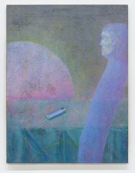 Alastair MacKinven, Untitled, 2020. Iron powder and oil on canvas, 33 1/2 x 25 2/3 inches. Courtesy Reena Spaulings Fine Art.
