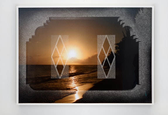 Paul Anthony Smith, <em>Eyes fi di tropics</em>, 2020-21. Unique picotage with spray paint on inkjet print, mounted on museum board and sintra, 60 x 40 inches. © Paul Anthony Smith. Courtesy of the artist and Jack Shainman Gallery, New York.