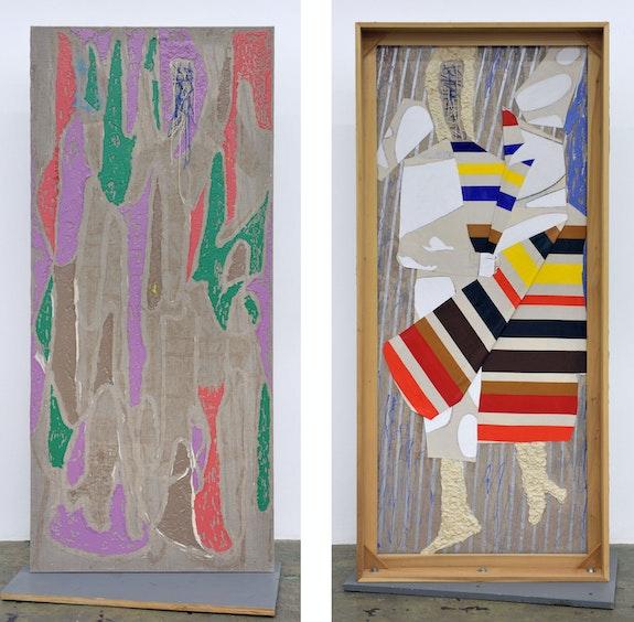 Dona Nelson, <em>Rain Woman</em>, 2020. Canvas collage, acrylic, and acrylic mediums on linen, 81 1/2 x 36 x 5 inches. Courtesy Thomas Erben, New York.
